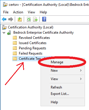 Deploy a pki on windows server 2016 part 5 timothy grubers blog right click on certificate templates and select manage yadclub Image collections