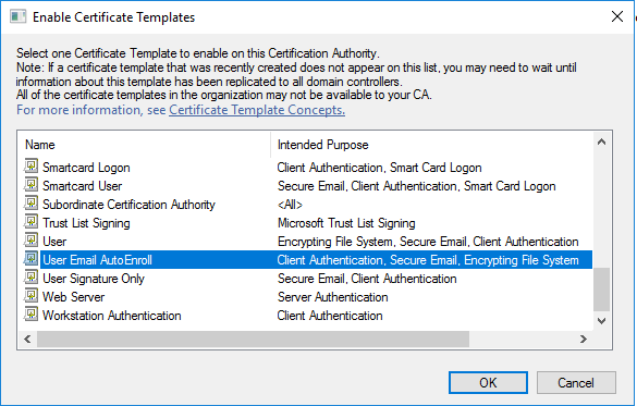 Deploy a pki on windows server 2016 part 5 timothy grubers blog scroll down to find the template you created user email autoenroll and click ok yelopaper Choice Image
